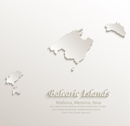 ibiza: Balearic Islands, Mallorca, Menorca, Ibiza map card paper 3D natural vector