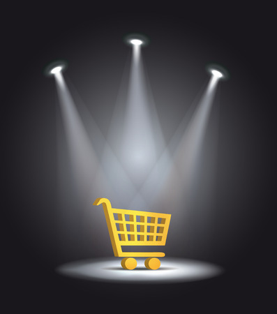 shopping cart: reflector light shopping cart vector Illustration