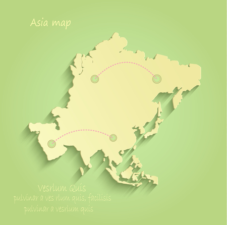 Asia map green yellow vector infographic Vektorové ilustrace