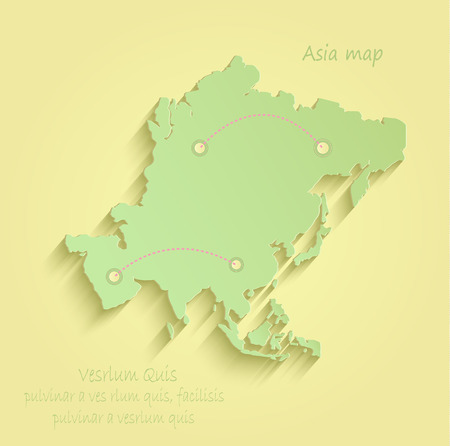 Asia yellow green vector map infographic Vektorové ilustrace