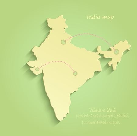 India green yellow vector maps