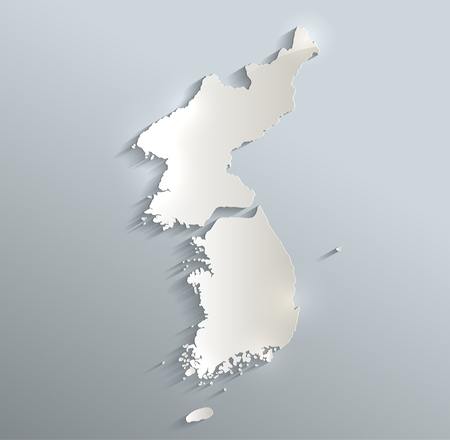 Korea map South North Separate blue white card paper 3D raster Reklamní fotografie
