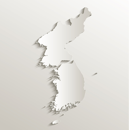 papery: Korea South North Separate map card paper 3D natural raster Stock Photo