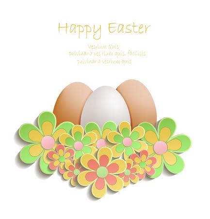 Easter Egg colors flowers. Illustration