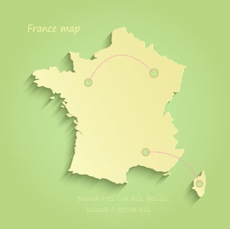 corsica: France green yellow vector maps
