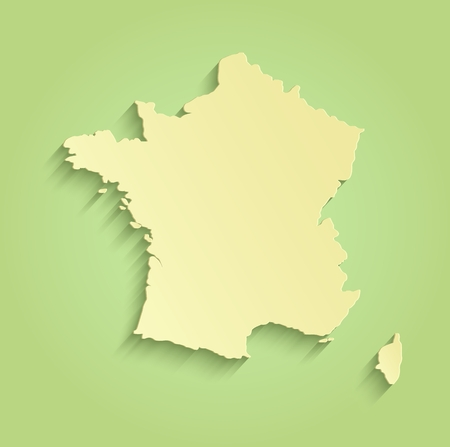 corsica: France map green yellow template outline raster