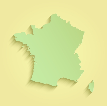 corsica: France map yellow green template outline raster Stock Photo