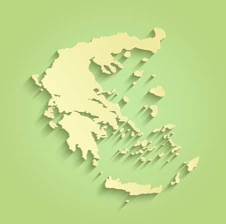 Greece green yellow raster map outline template Stock Photo
