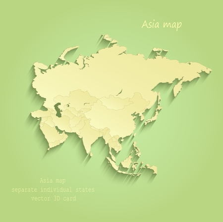 Asia map Separate Individual states green yellow vector