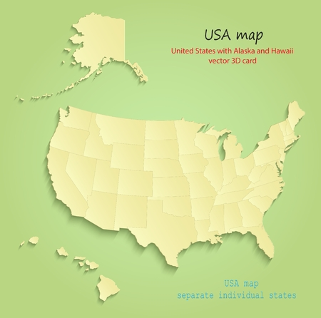 united states: United States with Alaska and Hawaii maps Separate Individual states green yellow vector Illustration