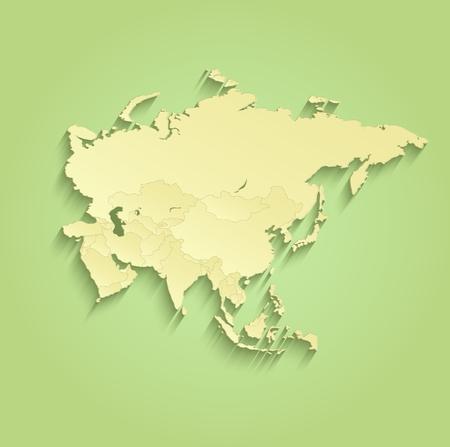 Asia map Separate Individual states green yellow raster