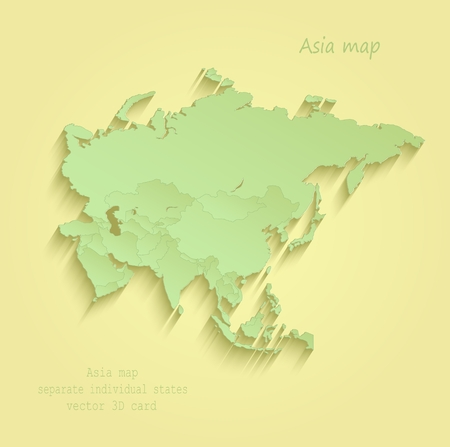 Asia map Separate Individual states yellow green vector Illustration