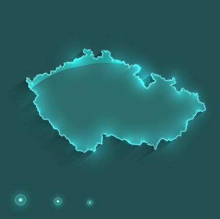 チェコ共和国地図光ネオン ラスター