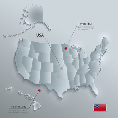 USA map with Alaska and Hawaii, separate states individual, glass card paper 3D vector