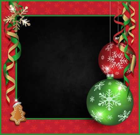 Merry Christmas, greeting card, Blackboard, frame, vector red green Stock Photo