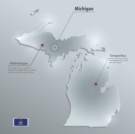 Michigan map flag glass card paper 3D vector.