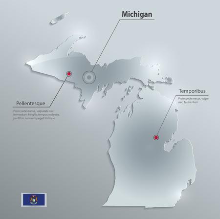 Michigan map flag glass card paper 3D vector.