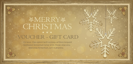 Voucher gift card flake gold Merry Christmas vector Greeting Cards