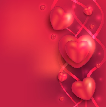 Happy Valentine day, heart love red ribbon background, I love You, raster