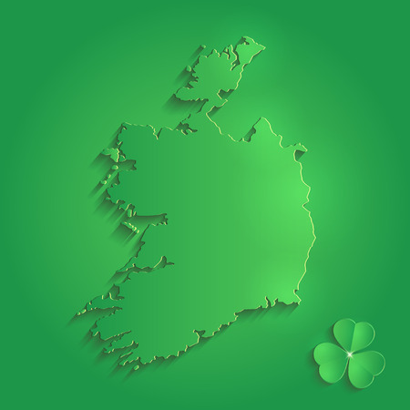 Ireland map green  St. Patrick Day shamrock 3D vector Illustration