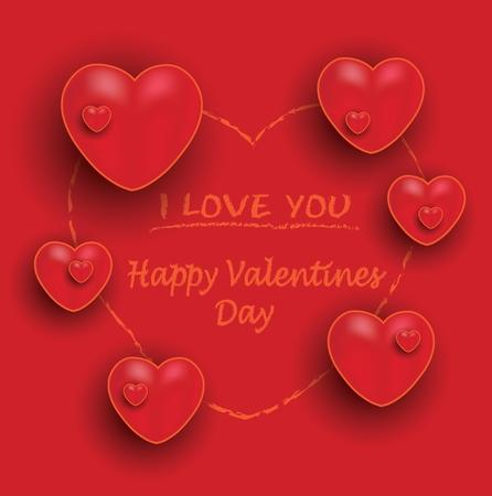 Happy valentine day, red orange hearts chalkboard greeting card, vector Illustration