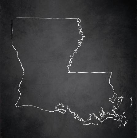 Louisiana map blackboard chalkboard raster
