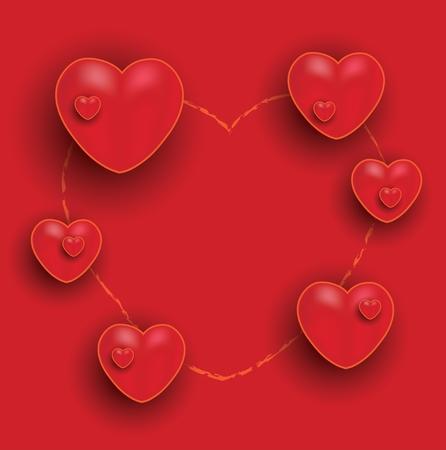 Happy Valentine Day, red orange hearts chalkboard greeting card, vector