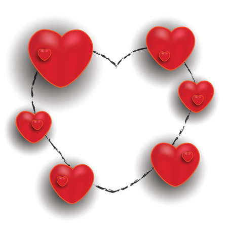 Happy Valentine Day, red hearts white blackboard chalkboard greeting card, raster blank Stock Photo