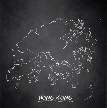 Hong Kong map blackboard chalkboard vector