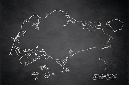 Singapore map blackboard chalkboard vector