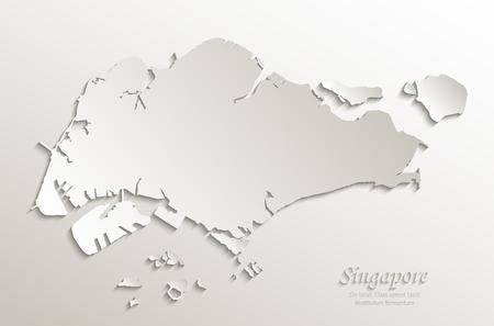 Singapore map paper paper 3D natural vector Vektorové ilustrace
