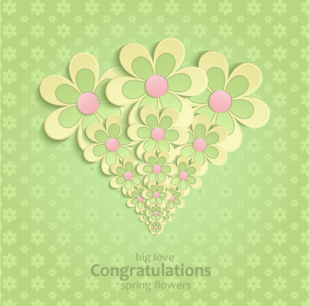 Flowers congratulations greeting card Spring green yellow pink vector