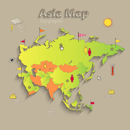 Asia map, separate states, infographics, political map, individual states, vector