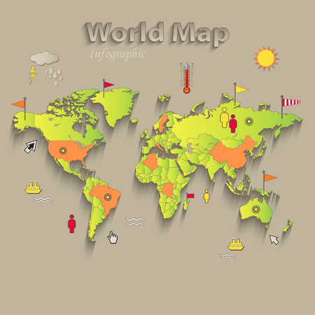 World map, separate states, infographics, political map, individual states, vector