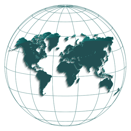 World map globe earth globe geographic coordinates white background petroleum color vector