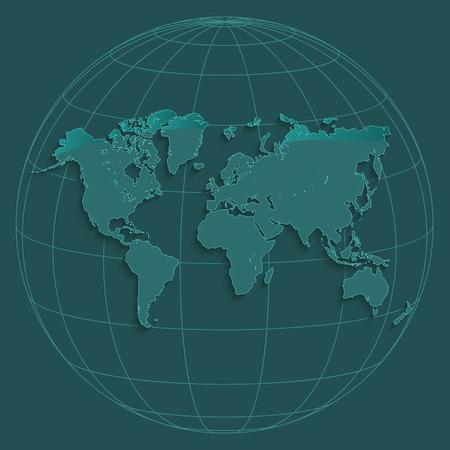 World map globus geographic coordinates globe petroleum color vector Zdjęcie Seryjne - 101246751