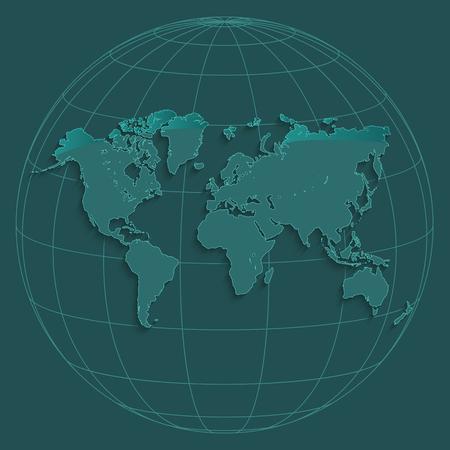 World map globus geographic coordinates globe petroleum color raster Zdjęcie Seryjne - 101539445