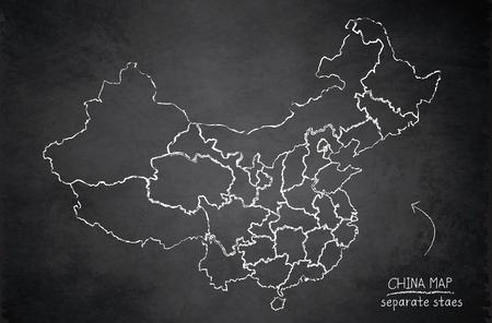 China map separate states individually blackboard chalkboard vector