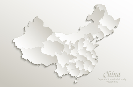 중국지도 별도 국가 개별적으로 카드 종이 3D 자연 벡터