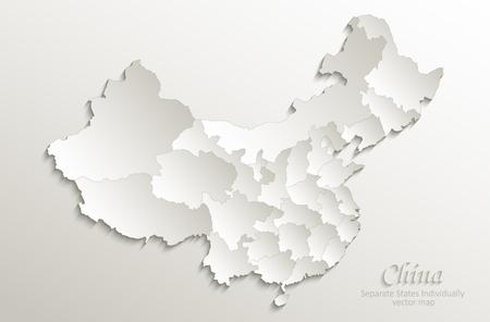 Mapa Chin oddzielnych państw indywidualnie papier kartonowy 3D naturalny wektor