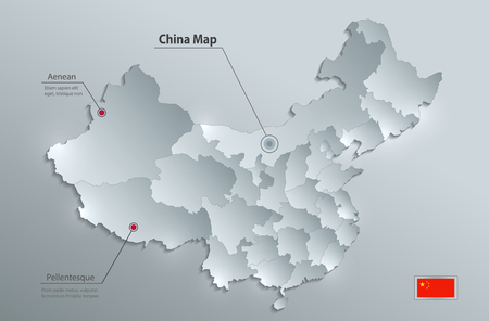 China map separate states individually glass card paper 3D vector Vektorové ilustrace