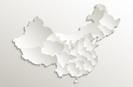 China map Separate States individually card paper 3D natural raster