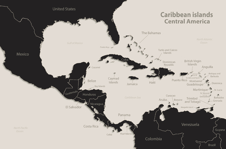 Caribbean islands Central America map state names Black blackboard separate states individual vector