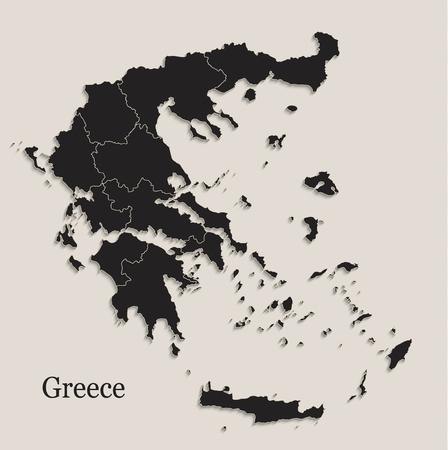 Greece map Black blackboard separate states region individual vector