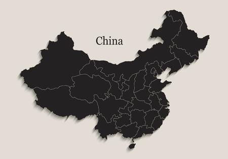 China map Black blackboard separate states individual region raster