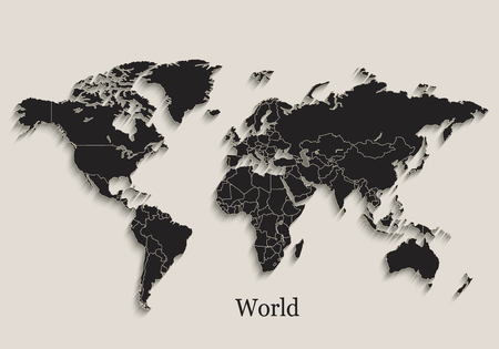 World map Black blackboard separate states individual vector Vector Illustration