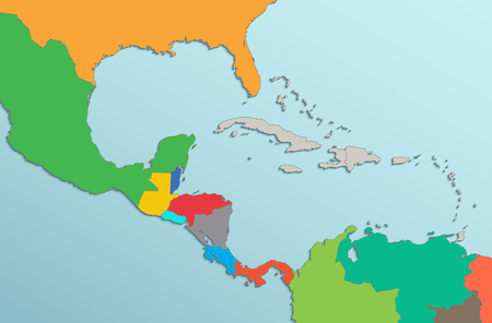 Caribbean islands Central America map state names card colors 3D raster