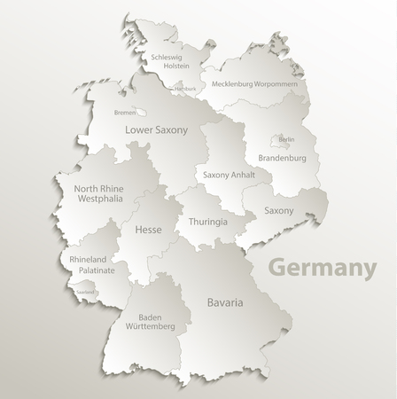 Germany map separate region individual names card paper 3D natural vector