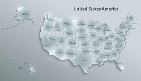 USA map with Alaska and Hawaii map separate states individual names glass card 3D vector Vector Illustration