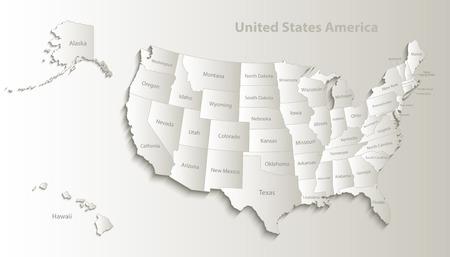 USA map with Alaska and Hawaii map separate states individual names card paper 3D natural vector Illustration